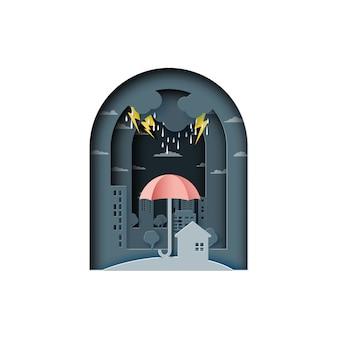Backgroud di monsone con l'ombrello e la città