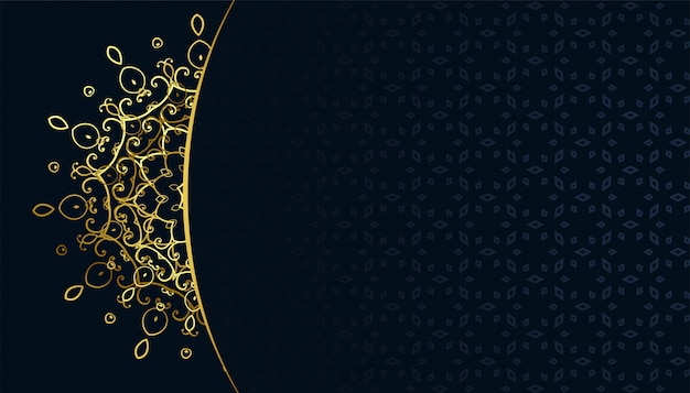 Backgroud dorato di stile del arabis del modello della mandala del arabeqsue