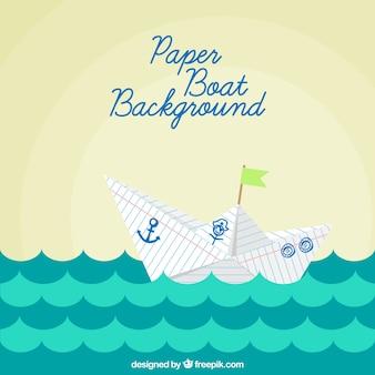 Background barca di carta in design piatto