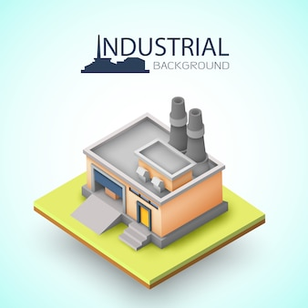 Background industriale con edificio