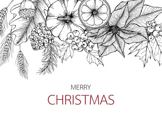 Backgroung merry christmas'day con la linea illustrazione del disegno di arte.