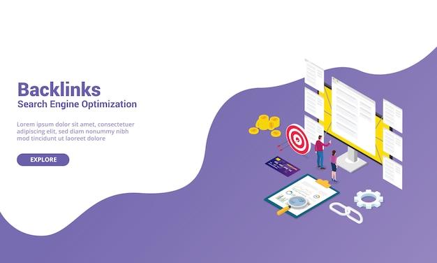 Backlink seo concetto di ottimizzazione del motore di ricerca per modello di sito web o homepage di atterraggio