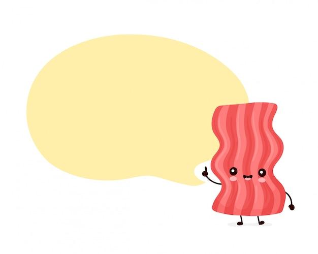 Bacon divertente felice sveglio con il fumetto. personaggio dei cartoni animati illustrazione icona design.isolated