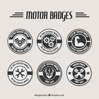 Badge bianco e nero per officine