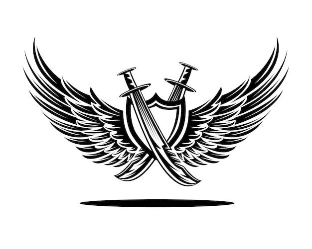 Badge dello spada dello scudo dell'ala