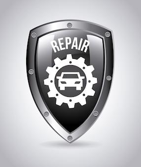 Badge di servizio di riparazione su grigio