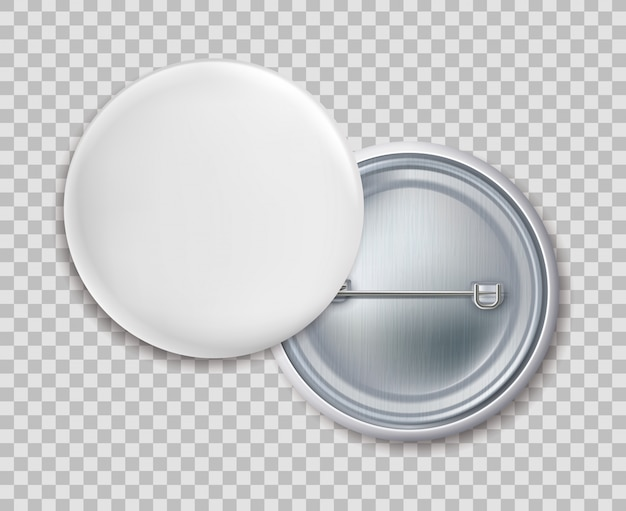 Badge pin. distintivo del bottone del metallo rotondo in bianco o modello isolato spilla su fondo trasparente