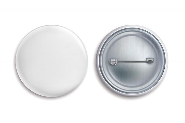Badge pin. il bottone in bianco rotondo bianco, annuncia il segno del cerchio 3d del metallo. mockup di badge souvenir
