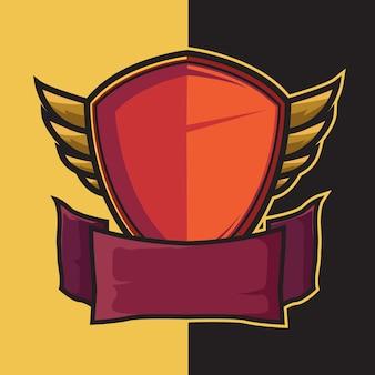 Badge scudo alato per elementi di design logo esport