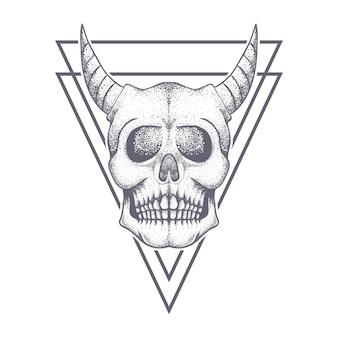Badge triangolo teschio diavolo