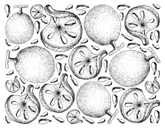 Bael, bengala del bengala, mela di legno o frutti di marmelos di aegle.