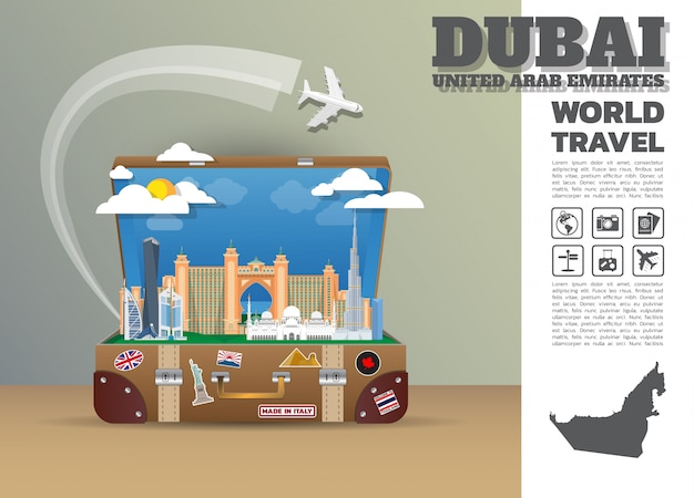Bagagli di dubai landmark global travel and journey infographic.