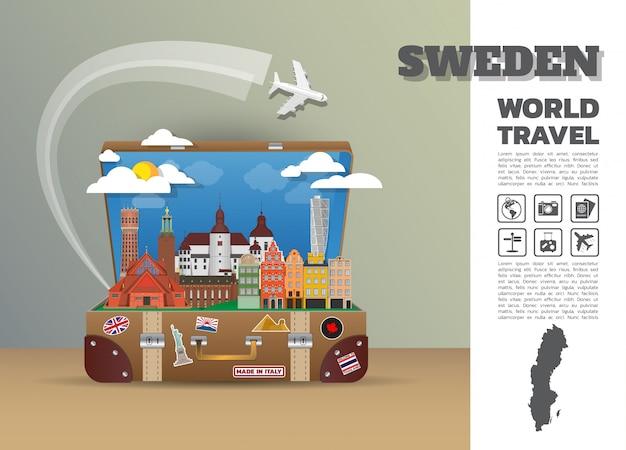 Bagagli di infographic di viaggio e di viaggio globali del punto di riferimento della svezia. design template./illustration.
