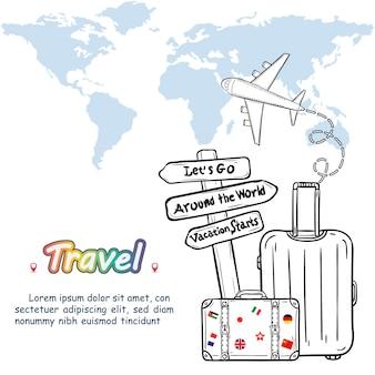 Bagagli e doodle disegnare a mano viaggiare intorno al concetto mondiale di estate.