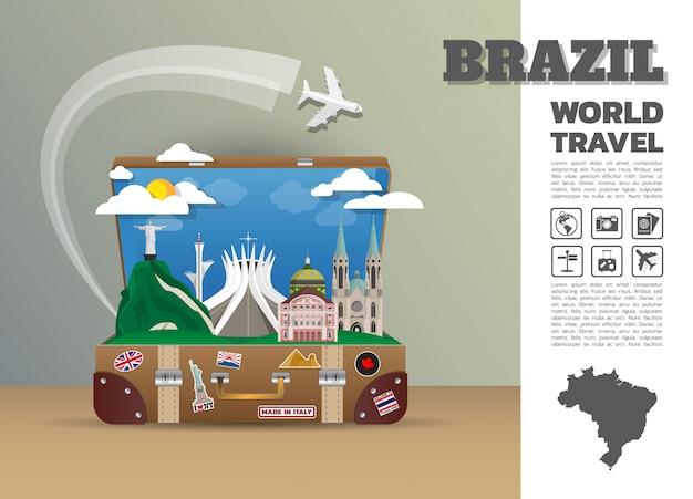 Bagagli globali di infographic di viaggio e di viaggio del punto di riferimento del brasile.