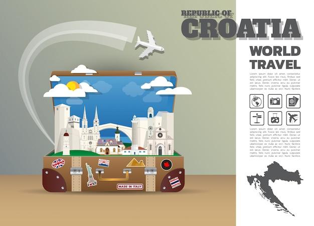 Bagagli globali di infographic di viaggio e di viaggio del punto di riferimento della croazia.