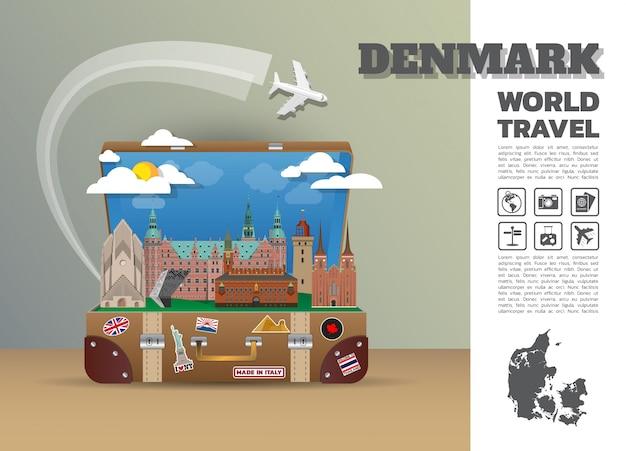 Bagagli infographic di viaggio e di viaggio globali del punto di riferimento della danimarca