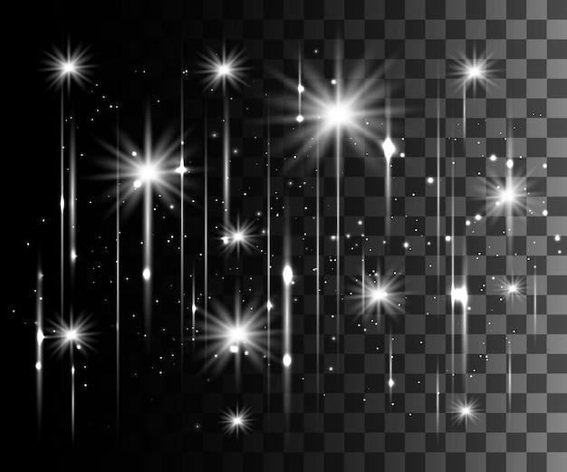 Bagliore bianco effetto trasparente, riflesso lente, esplosione, glitter, linea, lampo solare, scintilla e stelle. per l'arte del modello dell'illustrazione, banner per festeggiare il natale, raggio magico di energia flash
