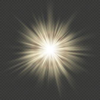 Bagliore caldo stella scoppio bagliore esplosione effetto luce trasparente.
