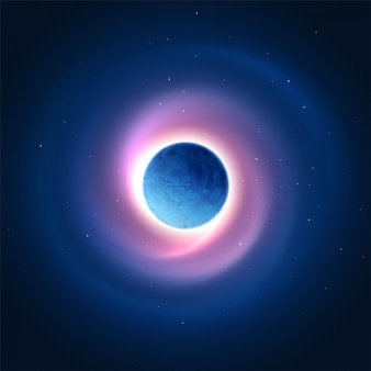 Bagliore cosmico sullo sfondo del pianeta. illustrazione vettoriale