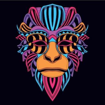 Bagliore nel buio scimmia decorativa dal colore neon
