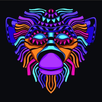 Bagliore nella testa scura della scimmia