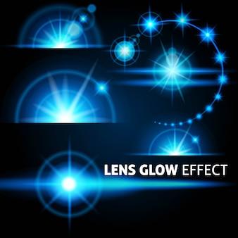 Bagliore realistico e raggi luminosi bagliori di luce blu