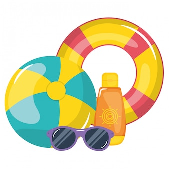 Bagnino galleggiante con blocker solare e occhiali da sole