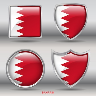 Bahrain flag bevel 4 forme icona