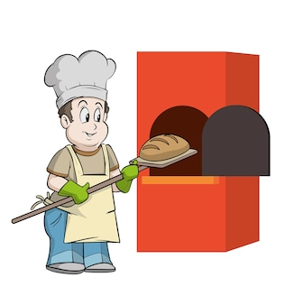 Baker che mette il pane nel forno molto presto