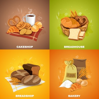 Bakery breadshop 4 flat icons square