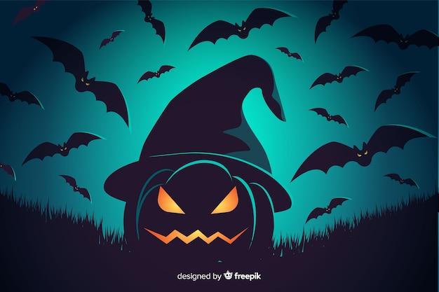 Bakground spaventoso della zucca e dei pipistrelli di halloween