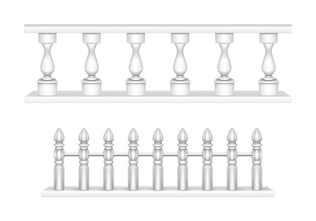 Balaustra in marmo, ringhiera del balcone o corrimano.