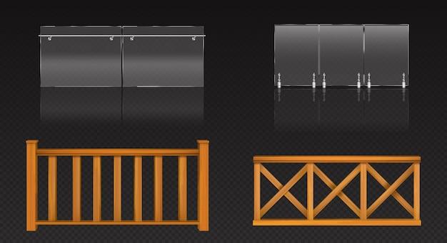Balaustra in vetro con ringhiera in metallo e staccionata in legno per balcone, terrazzo o piscina.