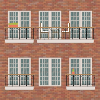 Balconi messi sull'illustrazione del muro di mattoni