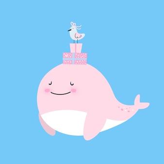 Balena e gabbiano
