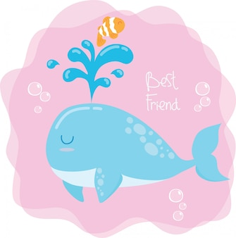 Balena e pesce pagliaccio