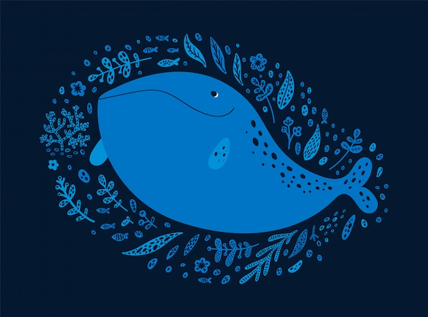 Balena felice dell'oceano isolata su oscurità