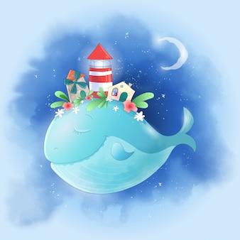 Balena simpatico cartone animato nel cielo con una città sul dorso