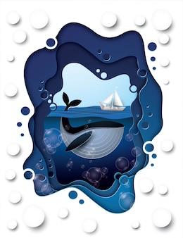 Balena sotto il mare, stile artigianale di carta.