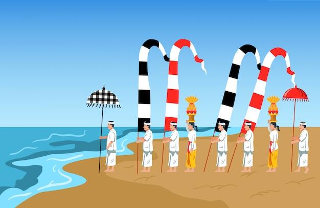Bali indù celebra il rito di purificazione