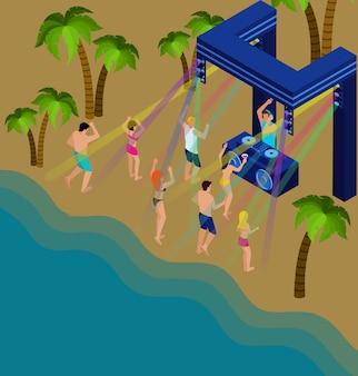 Ballando sull'illustrazione della spiaggia