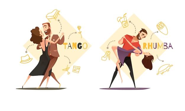 Ballando tango e rhumba coppie 2 modelli di cartoni animati retrò con icone di accessori stile web isolato