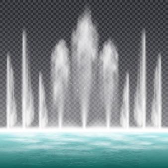 Ballare saltando fontana con acqua dinamica
