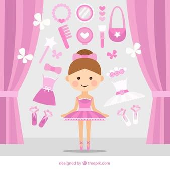 Ballerina sveglia con gli accessori rosa