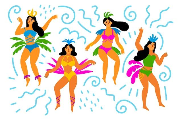 Ballerini brasiliani delle donne di carnevale che si divertono