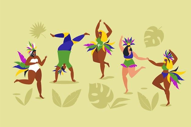 Ballerini di carnevale brasiliano con ombre di foglie