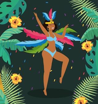 Ballerino di bella ragazza con foglie di fiori e rami