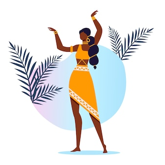 Ballerino indiano grazioso flat vector illustration