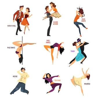 Ballerino professionista gente che balla, giovane uomo e donna che eseguono danze moderne e classiche illustrazioni
